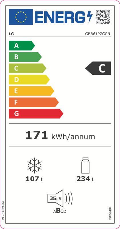 LG GBB61PZGCN Kühl-Gefrierkombination 341 Liter Nutzinhalt LINEARCooling